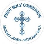 Personalised Edible Blue Cross Communion Cake Topper